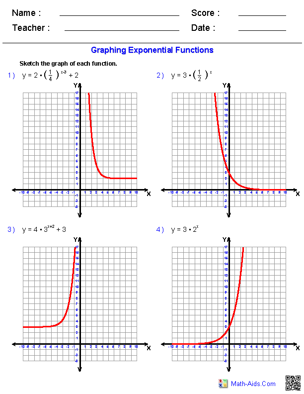 Printables Exponential Functions Worksheet algebra 2 worksheets exponential and logarithmic functions graphing worksheets
