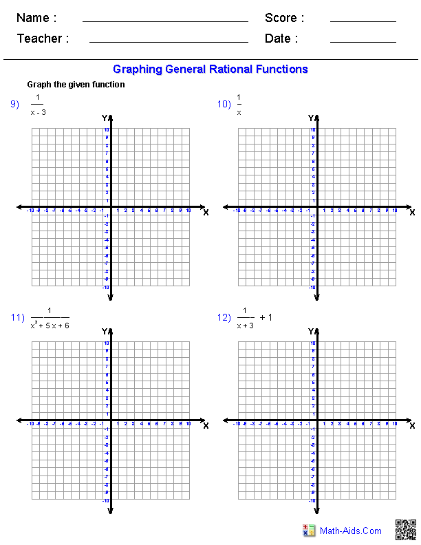 Printables Graphing Functions Worksheet algebra 2 worksheets rational expressions graphing general functions worksheets