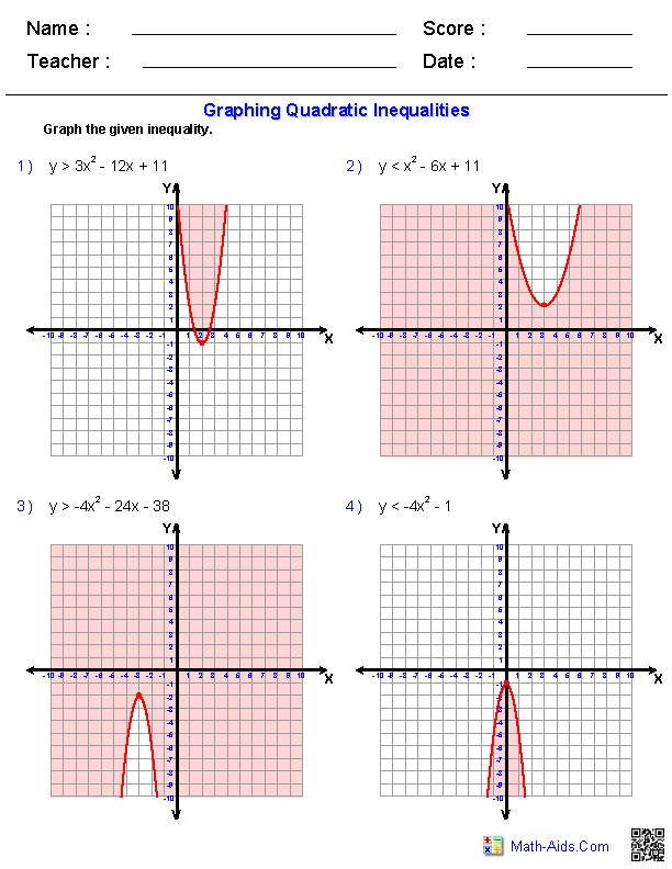 Quadratic Functions and Inequalities Worksheets
