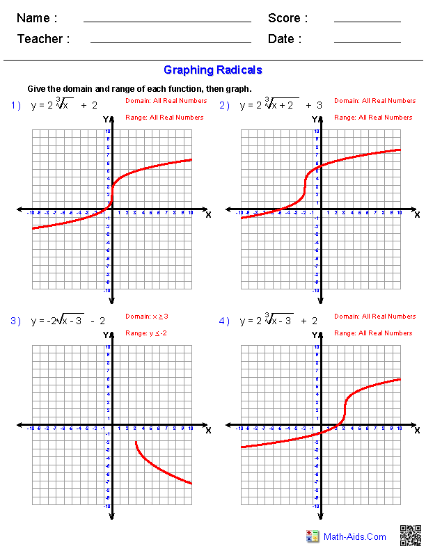 Radical Functions Worksheets