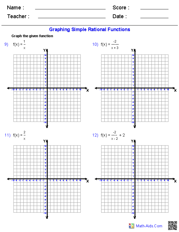 Graphing Simple Rational Functions Worksheets