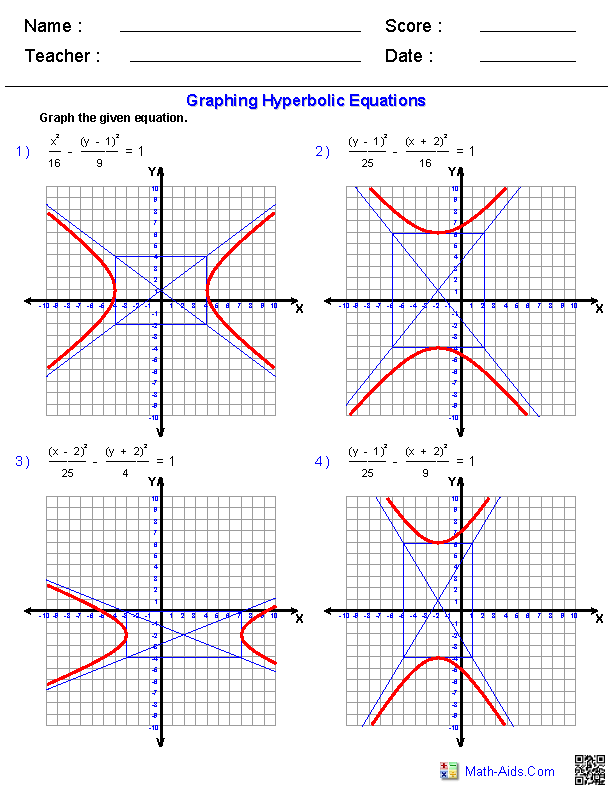 Graphing Equations of Hyperbolas Worksheets