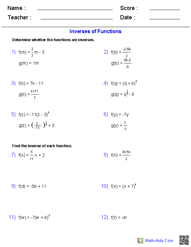 Algebra 2 Worksheets | Exponential and Logarithmic Functions ...