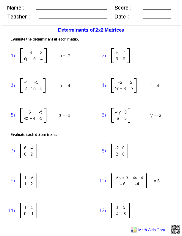 Worksheets Adding And Subtracting Matrices Worksheet algebra 2 worksheets matrices 2x2 determinants