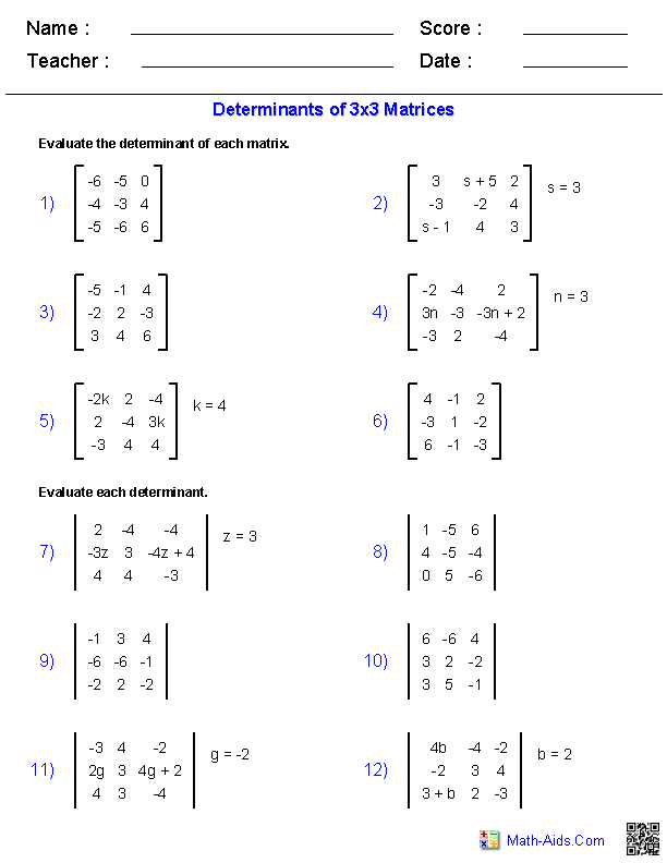 Printables Matrices Worksheets algebra 2 worksheets matrices determinants 3x3 worksheets
