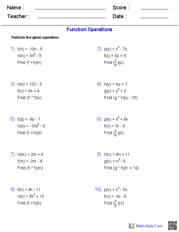 Function Operations Worksheets