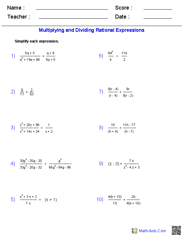{Algebra 2 Worksheets – Multiply and Divide Rational Expressions Worksheet
