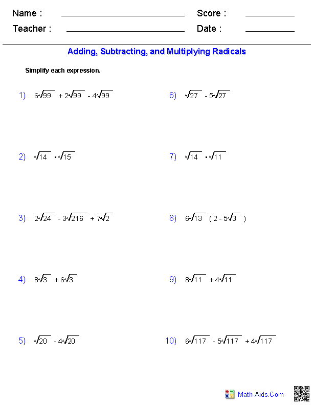 Algebra 2 Worksheets – Simplifying Radical Expressions Worksheets