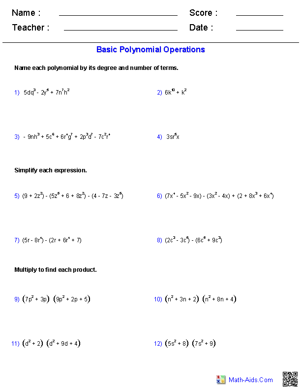 Polynomial Functions Worksheets