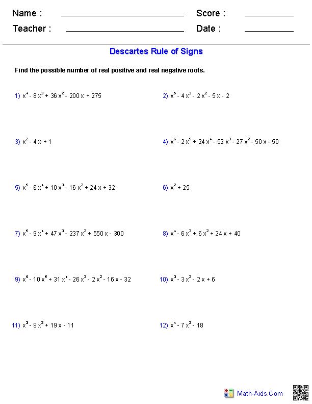 Algebra 2 Worksheets | Polynomial Functions Worksheets