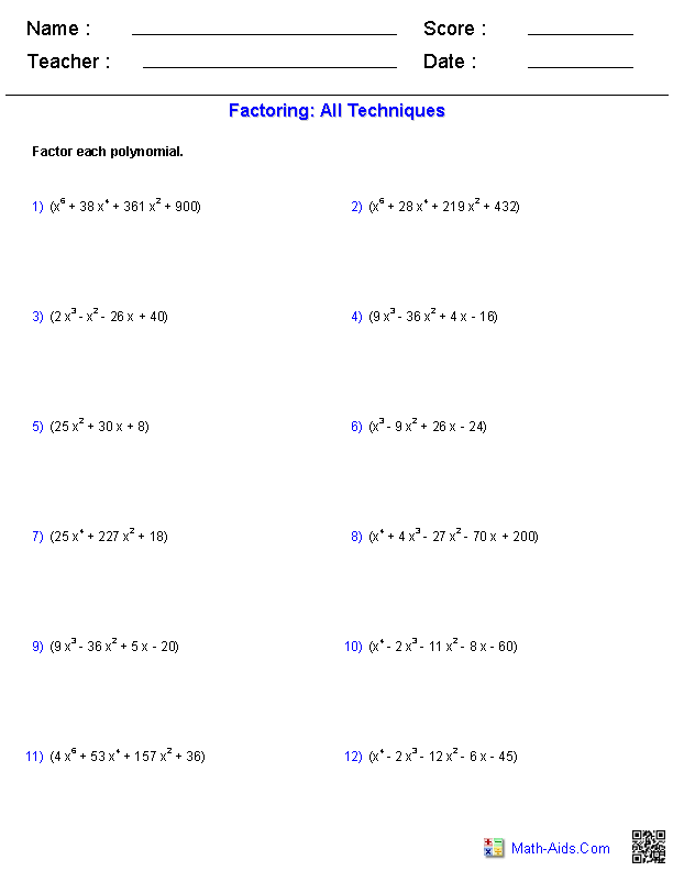 Algebra II or PreCalculus practice worksheet for factoring higher ...