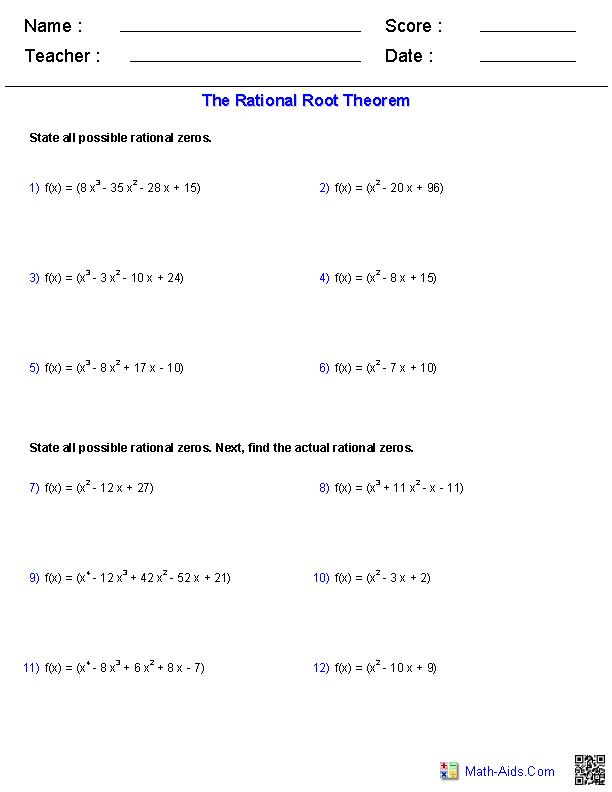 Algebra 2 Worksheets : Polynomial Functions Worksheets