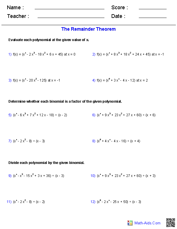 Algebra 2 Worksheets – Polynomial Worksheet