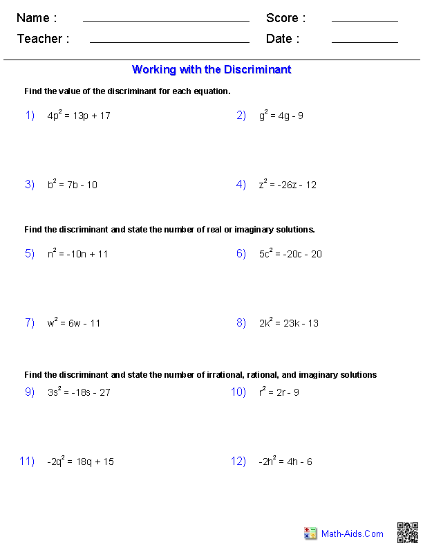 Algebra 2 Worksheets – The Quadratic Formula and the Discriminant Worksheet