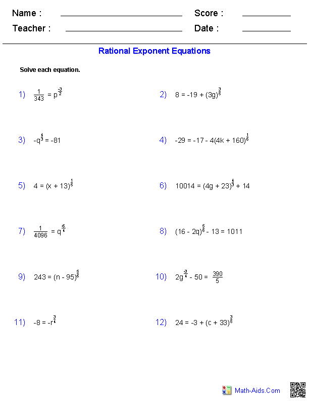 Printables Rational Exponents Worksheet algebra 2 worksheets radical functions rational exponent equations worksheets