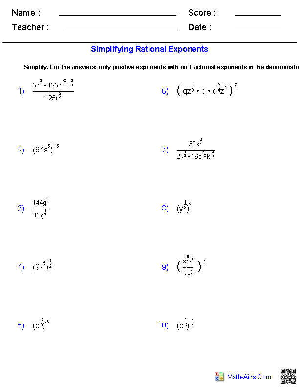 Printables Rational Exponents Worksheet algebra 2 worksheets radical functions simplifying rational exponents worksheets