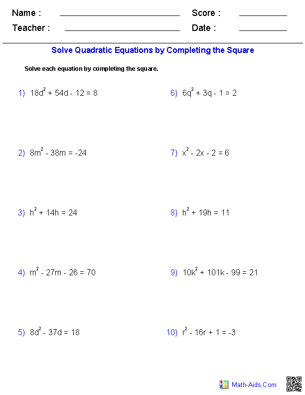 Printables Algebra 2 Solving Equations Worksheet algebra 2 worksheets quadratic functions and inequalities solving equations by completing the square
