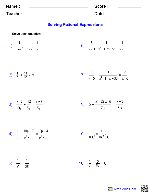 Algebra 2 Worksheets | Rational Expressions Worksheets
