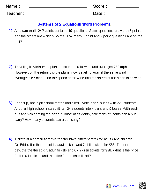 {Algebra 2 Worksheets – System of Equation Word Problems Worksheet