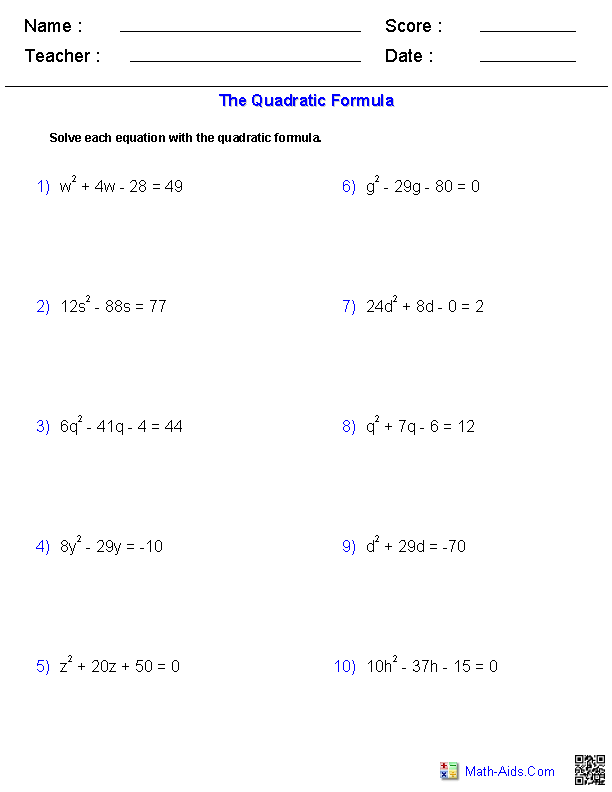 Worksheets Quadratic Equation Worksheet With Answers algebra 2 worksheets quadratic functions and inequalities solving equations with the formula