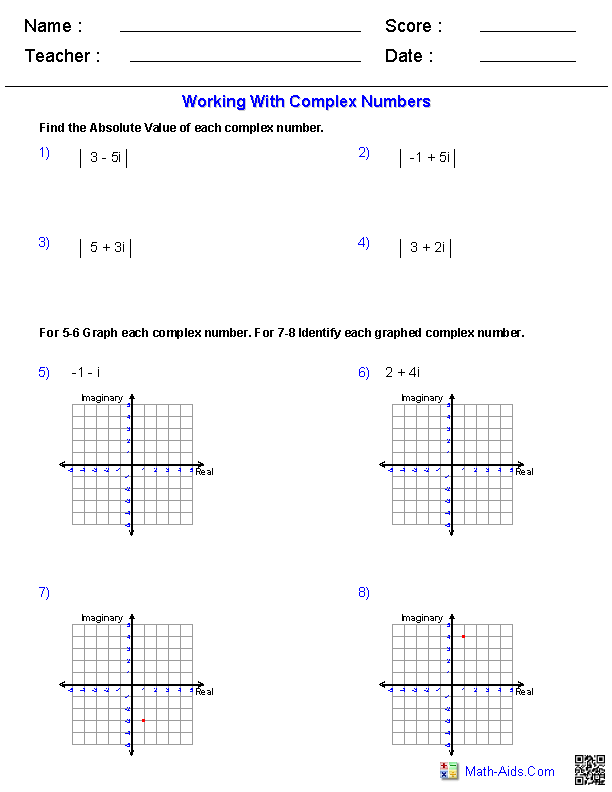 Printables Complex Numbers Worksheet algebra 2 worksheets complex numbers working with numbers