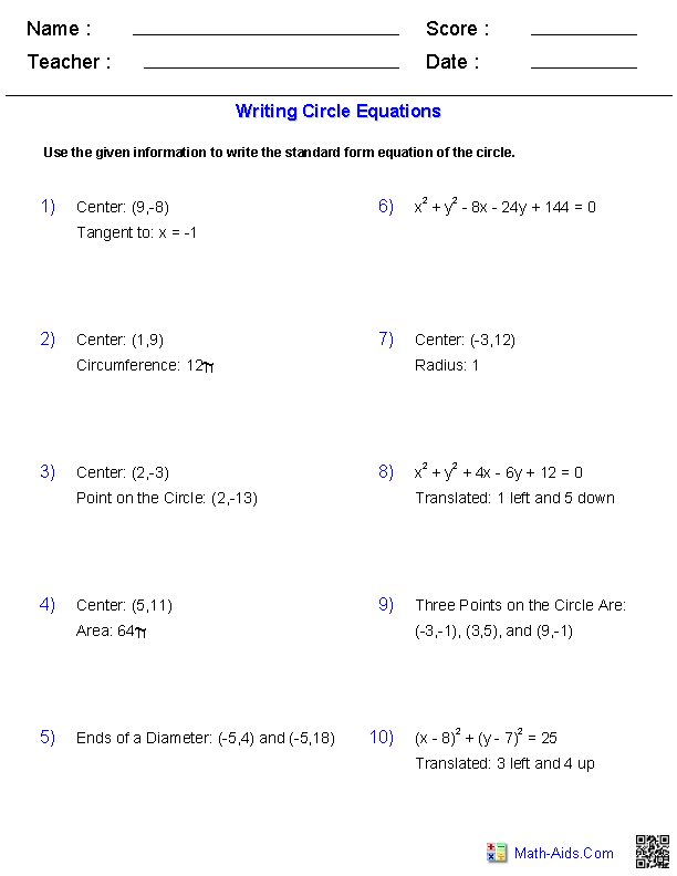 Worksheets Worksheet Writing Equations algebra 2 worksheets conic sections writing equation of circles worksheets