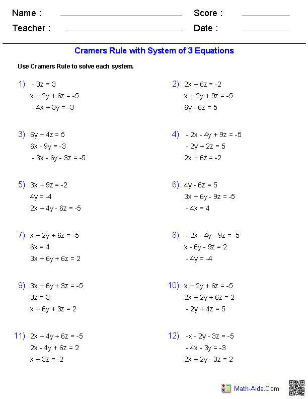 matrices and determinants problems and solutions pdf