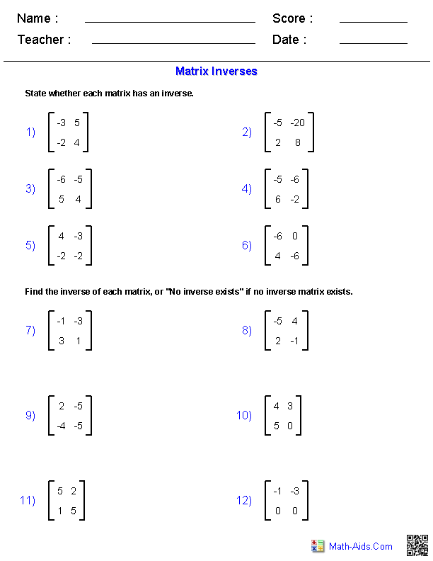 Matrix Inverses Worksheets