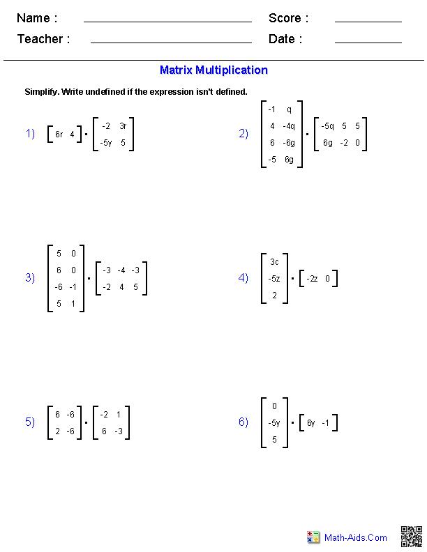 Algebra 2 Worksheets   Matrices Worksheets