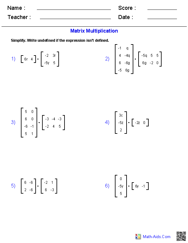 Matrix Multiplication Worksheets