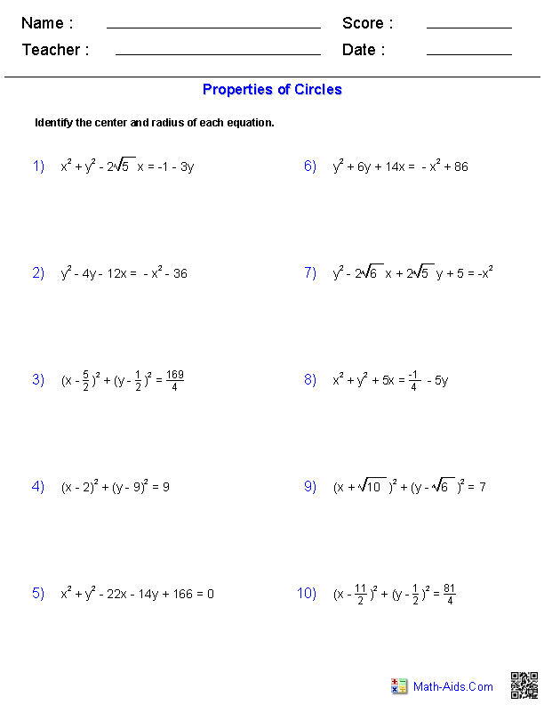 Worksheets Graphing Circles Worksheet algebra 2 worksheets conic sections properties of circles worksheets