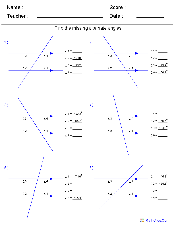 Angles Worksheet Grade 7 Angles In A Quadrilateral Worksheets And Solutions Geometry Triangle