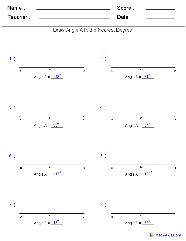 Geometry Worksheets : Angles Worksheets for Practice and Study