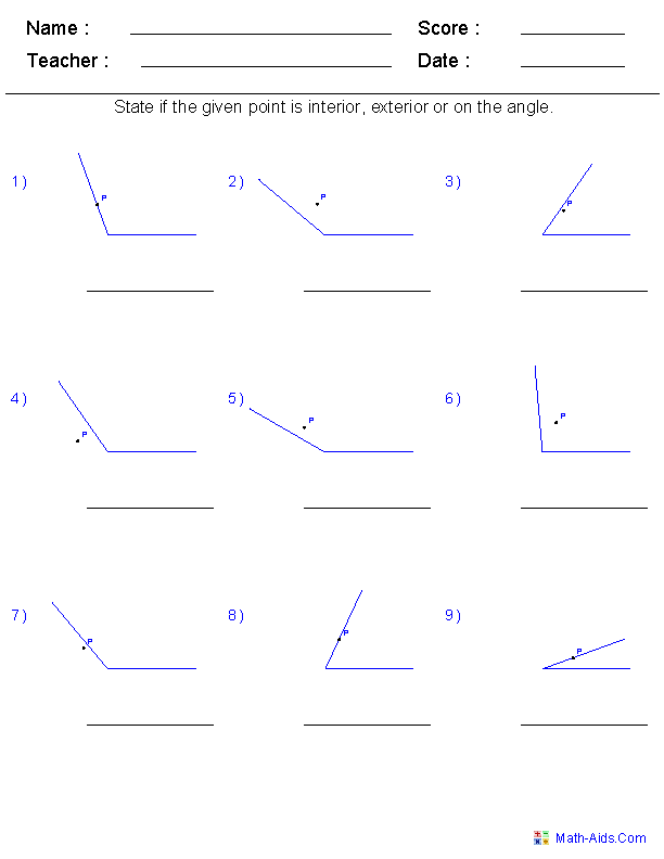 Worksheets Identifying Angles Worksheet geometry worksheets angles for practice and study identify if a given point is interior exterior or on the angle