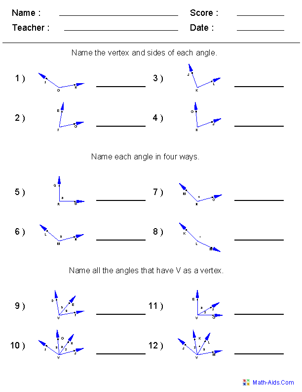 Geometry Worksheets – Angle Relationships Worksheet