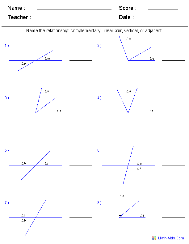 {Geometry Worksheets – Angle Relationships Worksheet