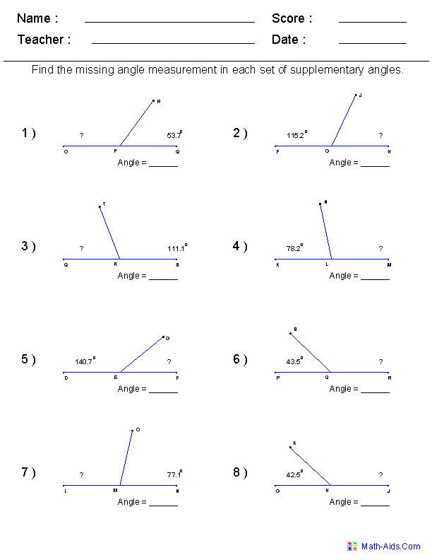Geometry Worksheets | Angles Worksheets for Practice and Study