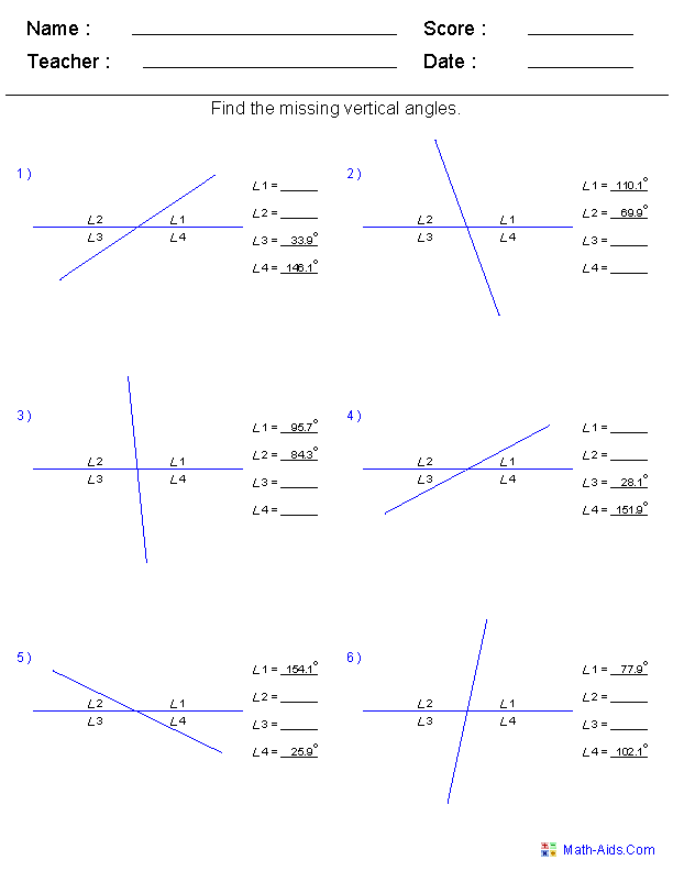 Printables Angle Pairs Worksheet geometry worksheets angles for practice and study worksheets