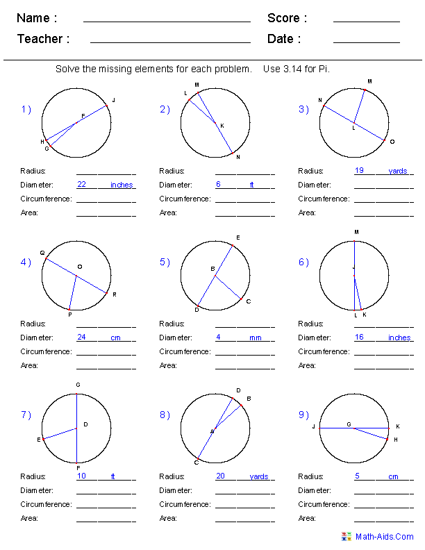 Printables Inscribed Angles Worksheet geometry worksheets circle circumference area radius and diameter worksheets
