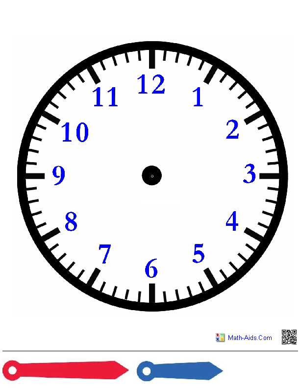 Crush image throughout printable clock face with hands