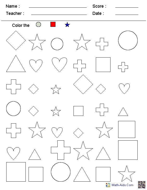 Color the shapes kindergarten worksheets