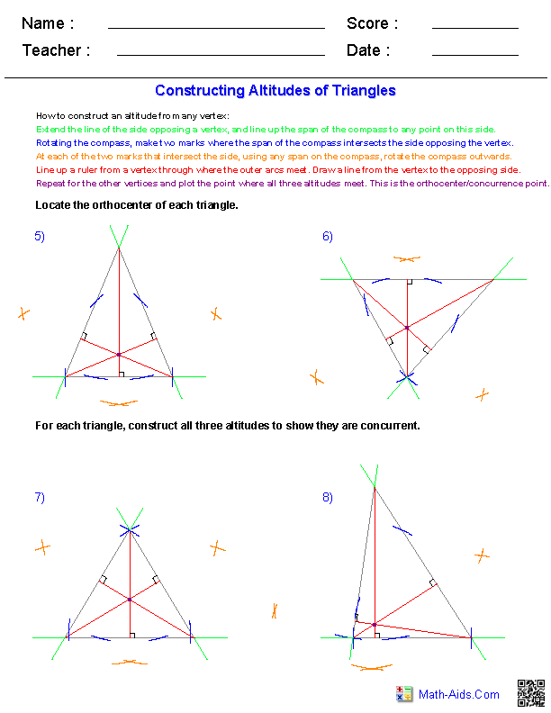 Altitudes of Triangles Constructions Worksheets