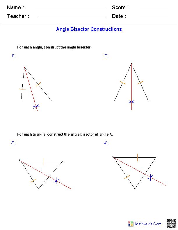 Angle Bisectors Constructions Worksheets