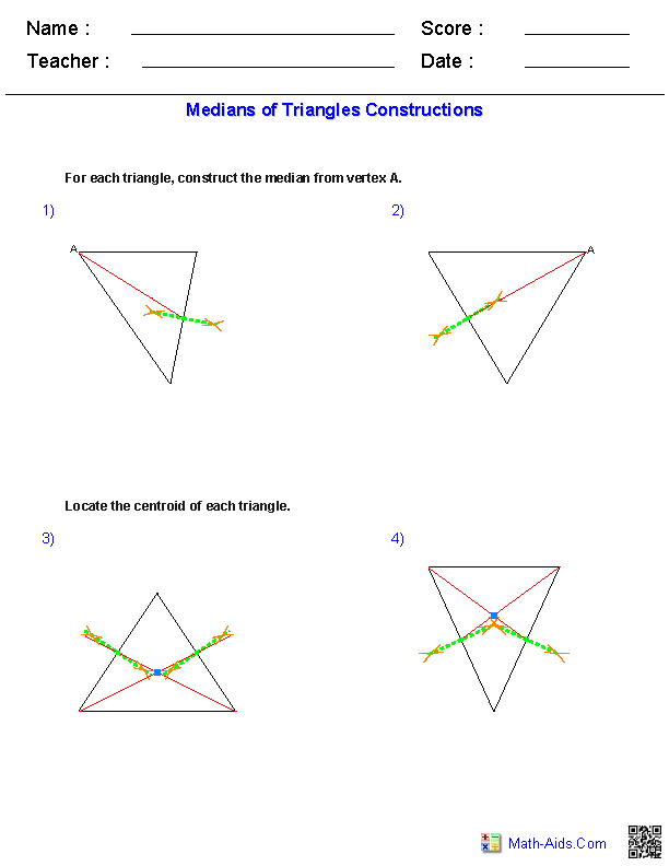 Medians of Triangles Constructions Worksheets
