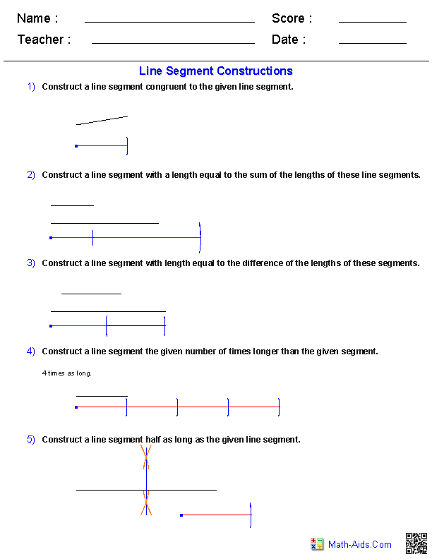 Geometry Worksheets : Constructions Worksheets