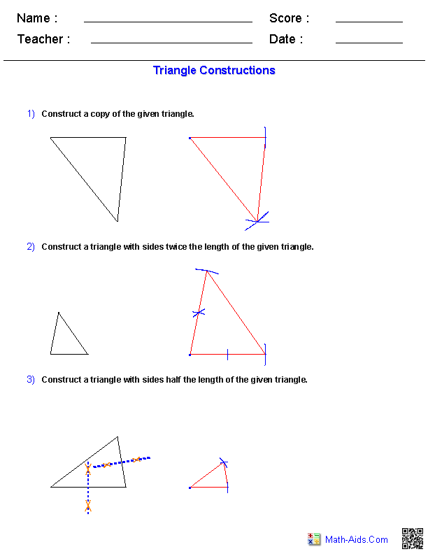 Triangles Constructions Worksheets