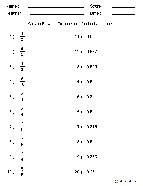 Converting Between Fractions & Decimals Worksheets