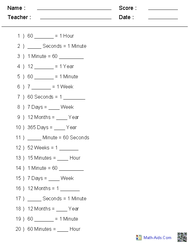 Conversion of Time Units Worksheets