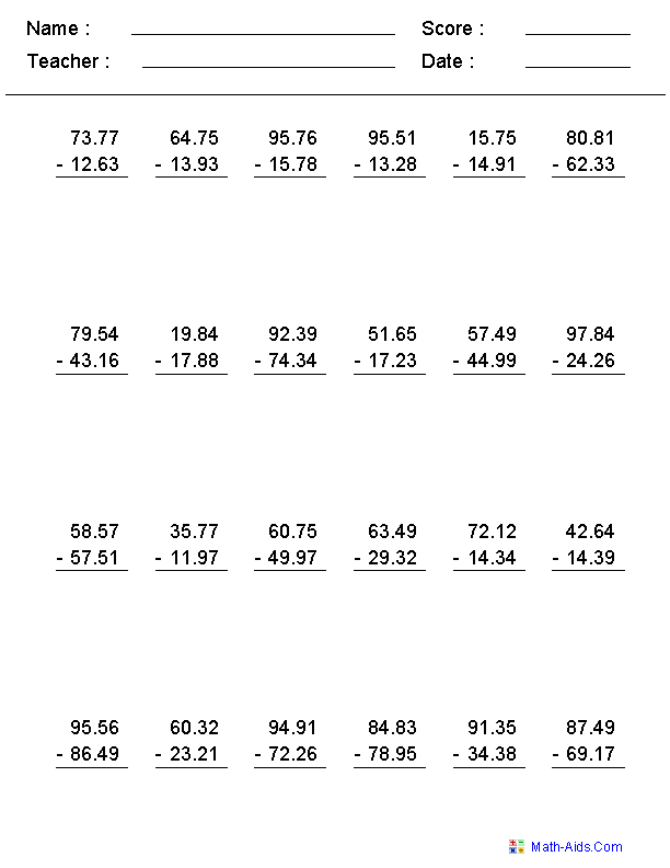 {Decimals Worksheets – Decimal Subtraction Worksheets