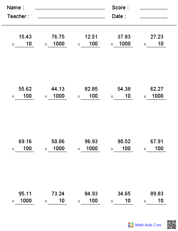 Decimals Worksheets – Math Multiplication Worksheets
